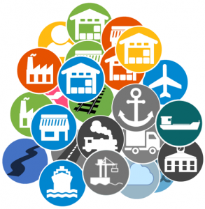 A pile up of our logistics training icons