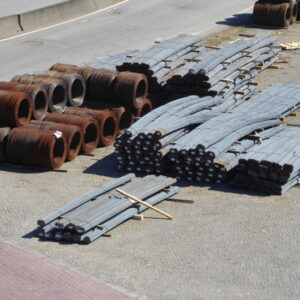 Some break bulk cargo awaiting loading onto a vessel.