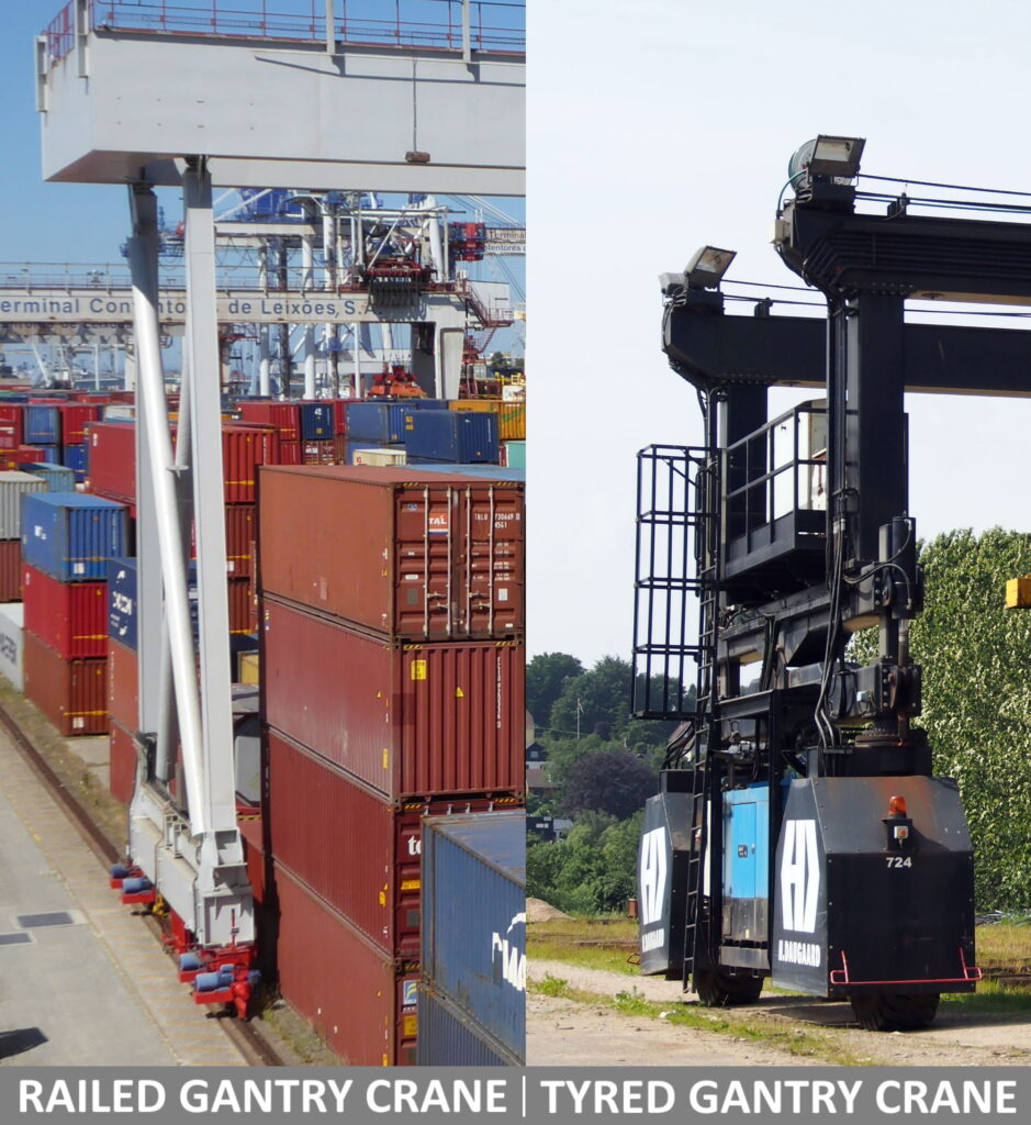 A picture showing side by side a railed gantry crane and a tired one. Used in our logistics training and articles.