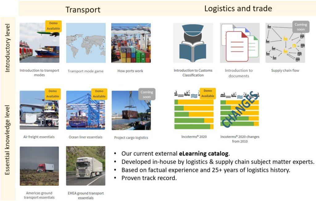 Allyn International's catalog of logistics elearning online courses and training