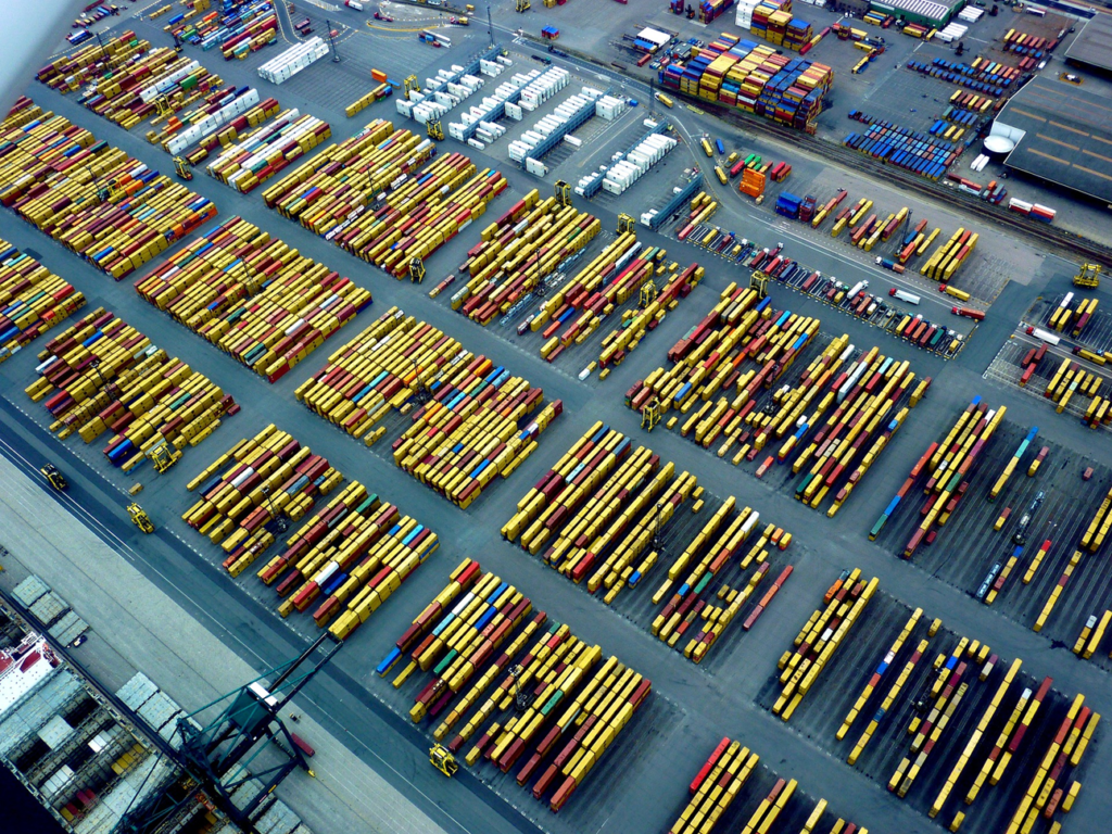 Container terminal, container port, Antwerp port photo - an aerial view of a container port used in our article on how container ports work.